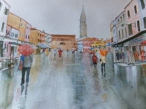 Wet surfaces in watercolour