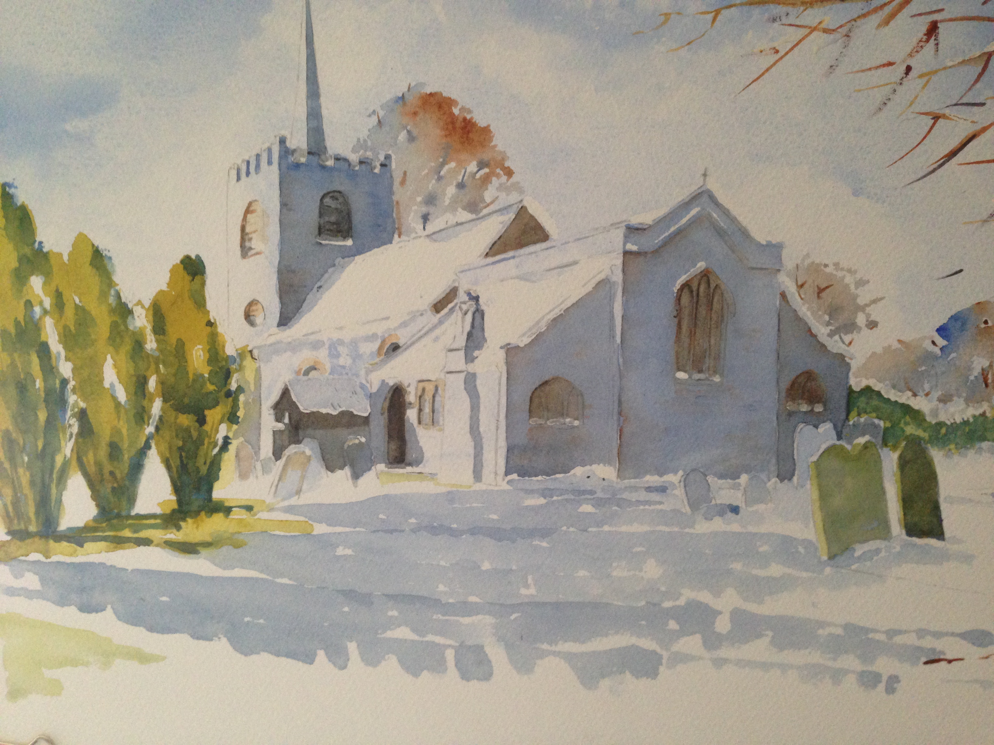 Pirbright Church in Winter