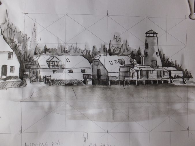 Tonal drawing of Langstone Mill