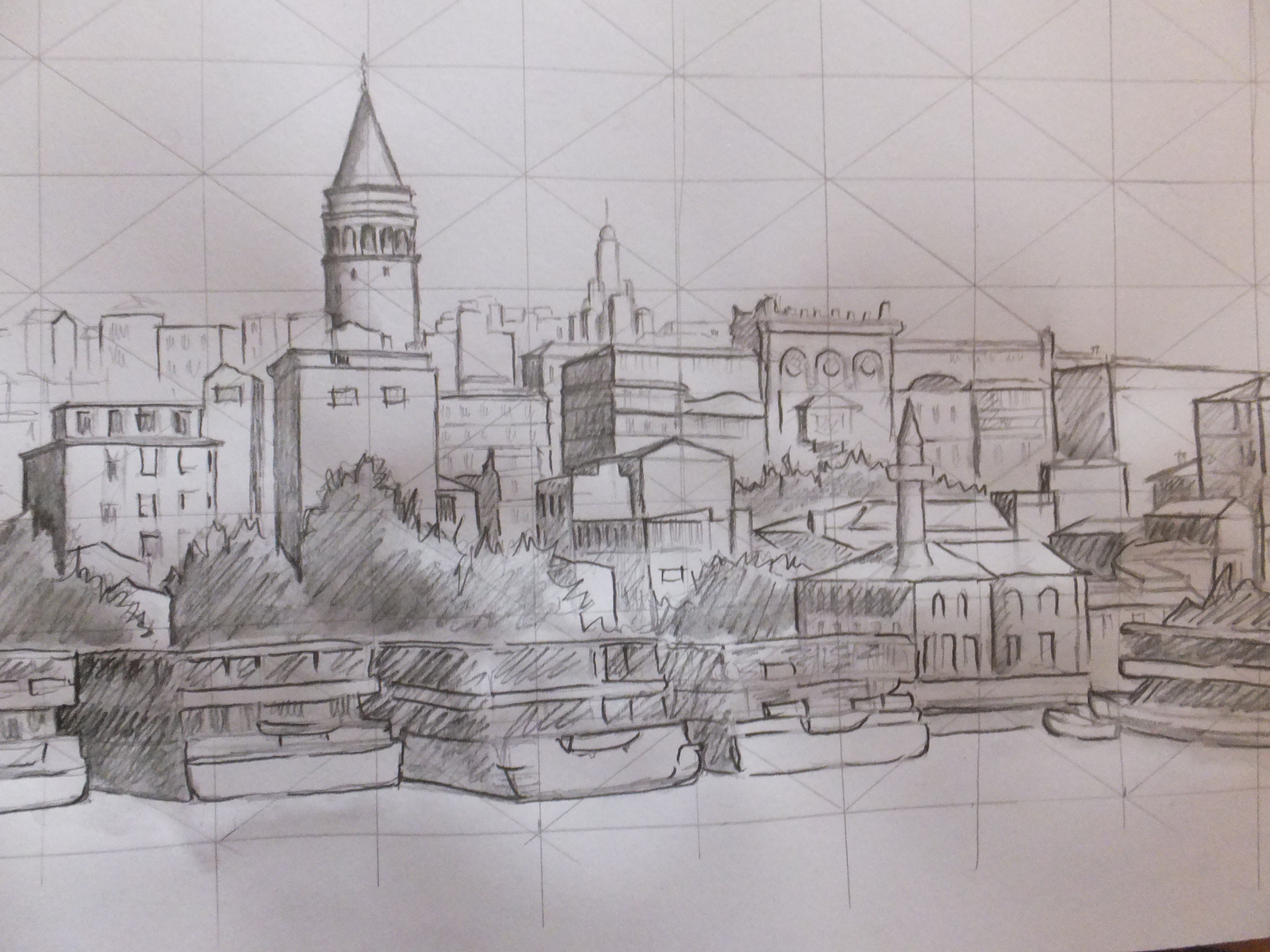 Galata Tower finished tonal sketch