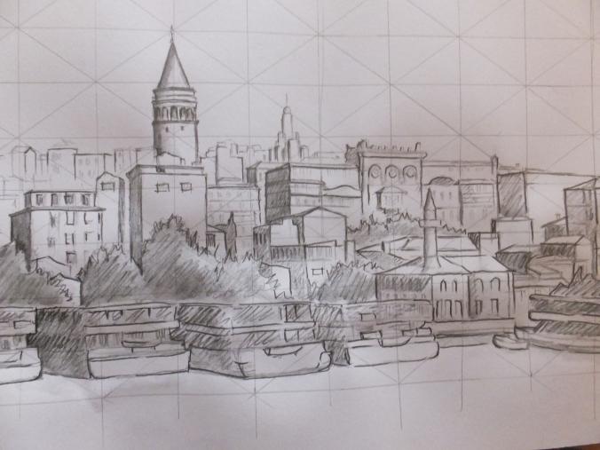 Galata Tower finished tonal sketch