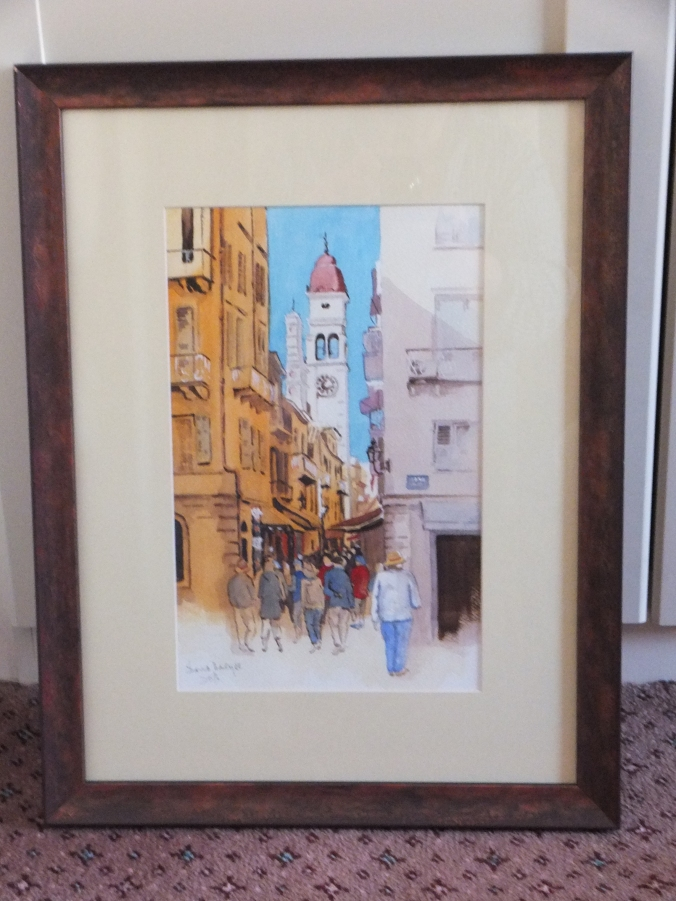 Corfu Shopping Lanes Framed