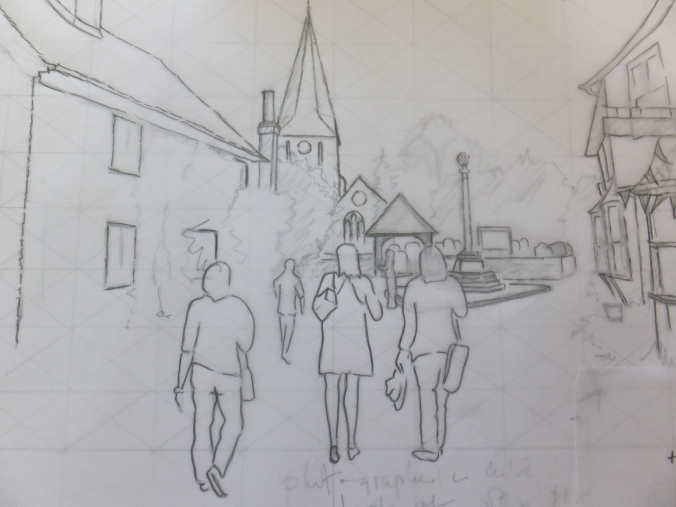 Figures transposed to Shere Village scene