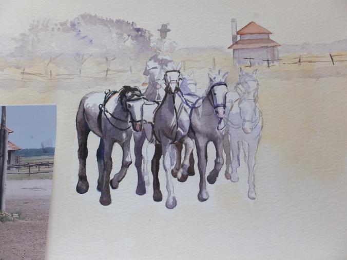 Horsemanship painting partway