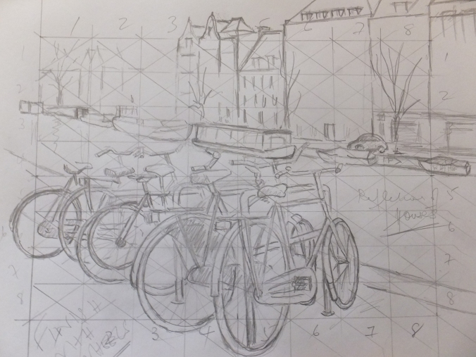 Bikes and Canals Sketch Drawings