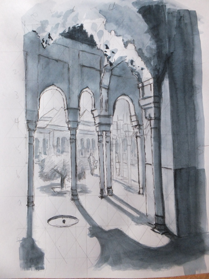 Alhambra Sketch Lion Courtyard